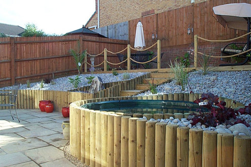 retaining wall, sloping garden, design, water feature, decking
