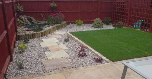 stone paving, lawn, sloping garden, levelling
