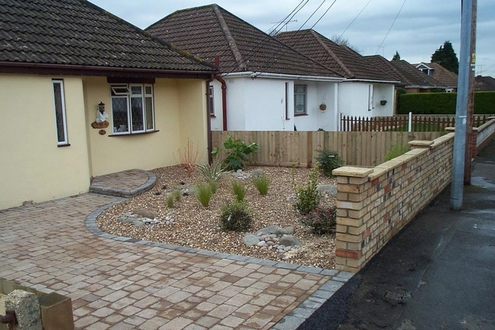 block paved drive, front garden, brick wall, planting, low maintenance