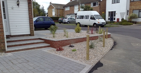 drive, steps, walling, slope, planting, front garden