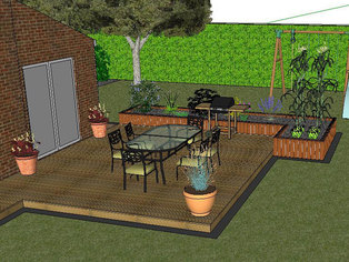 An early garden design showing a timber deck with raised bed and brick edging.
