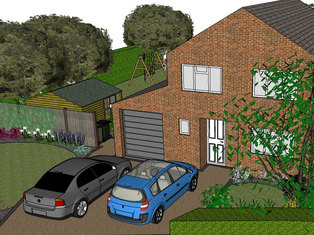 Part of a front garden design showing a drive with new lawn and borders either side.