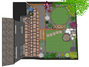 An overhead view of a rear garden design including patio, retaining walls, lawn, brick edging, planting and a water feature.
