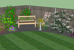 3d garden design, seating area, planting, lawn, border, lawn edge