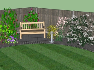 A small corner of a 3D garden design showing planting surrounding a seating area fronted by lawn.