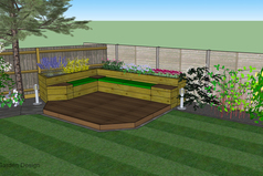 seating area, 3d garden design, lawn, tree, planting