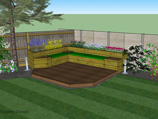 A small corner of a garden design showing a combination seating and planting area with a timber deck plinth.