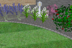 lawn edge, lighting, garden light, planting, 3d garden design