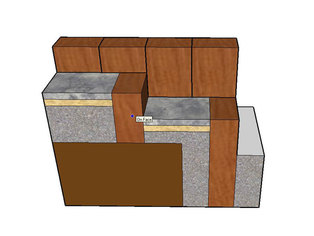 A detail drawing showing the construction of a sleeper retaining wall and steps. The finished drawing would be labelled and include dimensions to assist with self build.