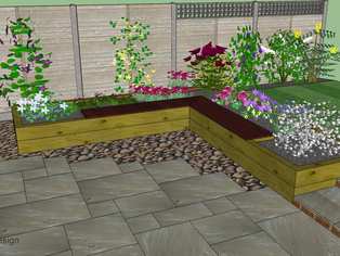 Another garden design showing a seating area built in to a raised bed surrounding a paved patio. This helps solve several issues at once including the slope up to the lawn.