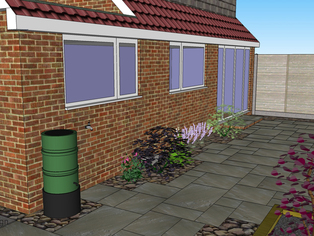 A 3D garden design showing a random rectangular patio surrounded by cobbles and planting to create a soft look to the area.