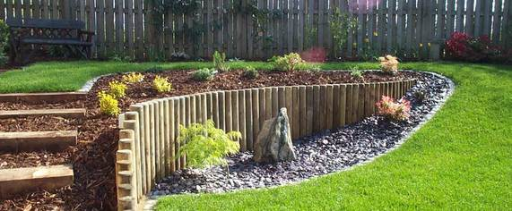 sloping garden, steps, oak sleepers, planting, lawn, design, bark, fencing
