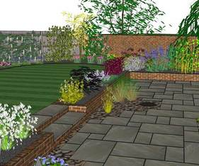 garden design, paving, 3d, planting, fencing, lawn, edges
