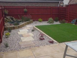 lawn, paving, patio, stone, planting, low maintenance, stepping stones