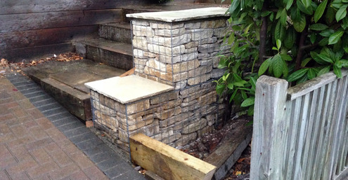 gabion baskets, retaining wall, front garden, design, stone, Purbeck