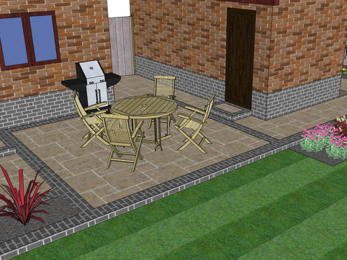 A 3d garden design showing paving, brick wall, lawn, patio, limestone slabs