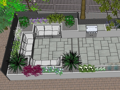 A 3D garden design showing a seating area with raised beds, planting, barbeque, screening, paving