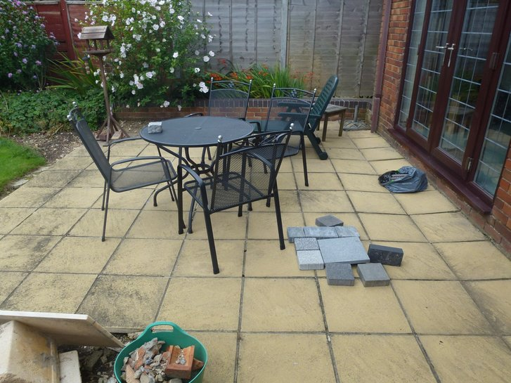 An existing patio in need of a new design