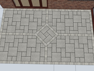 A draft example of a patio design using a mirrored tudor pattern for the paving slabs and block paviours to creat the four quadrants.