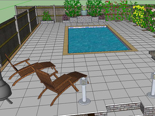Part of a garden design showing a swimming pool, fencing and large patio