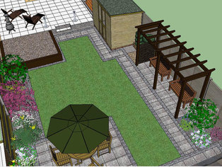 An overhead view of a garden design will show what the garden will look like from an upstairs window.