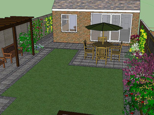 Part of a large garden design showing paving, planting, pergola, lawn and seating