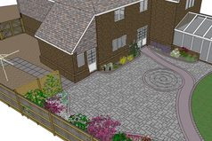 stone paving, path, lawn edging, random paving, garden design