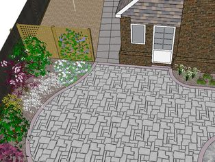 A garden design showing a large patio leading to a side path heading towards the garage. Planting softens the boundaries and the trellis screen provides initial privacy whilst the plants mature.