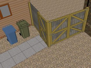 A design of a fence and gate arrangement providing double gates to access a boat storage area and a pedestrian gate for easy access to take the bins out.