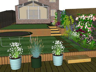 A gently sloping garden is designed with terracing to provide level areas of lawn for young children to play on.