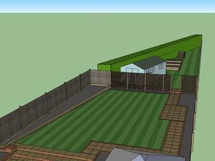 Another view of a large garden design showing the basic layout of the new garden.