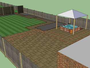 Part of a draft design showing the basic layout of the design including paving, steps, paths, screening, fencing and the existing hot tub.